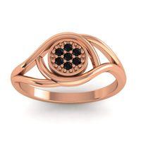 Floral Pave Tarusanda Black Onyx Ring in 14K Rose Gold
