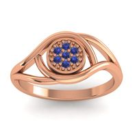 Blue Sapphire Floral Pave Tarusanda Ring in 18K Rose Gold