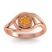 Citrine Floral Pave Tarusanda Ring in 18K Rose Gold