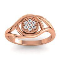 Diamond Floral Pave Tarusanda Ring in 14K Rose Gold