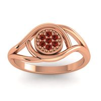 Floral Pave Tarusanda Garnet Ring in 14K Rose Gold