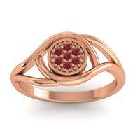 Floral Pave Tarusanda Ruby Ring in 14K Rose Gold