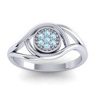 Aquamarine Floral Pave Tarusanda Ring in Platinum