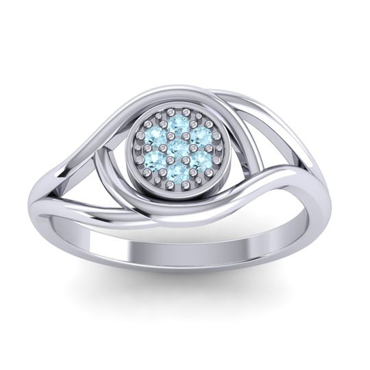 Aquamarine Floral Pave Tarusanda Ring in 14k White Gold