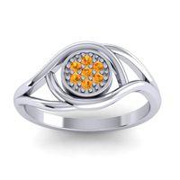 Citrine Floral Pave Tarusanda Ring in 14k White Gold