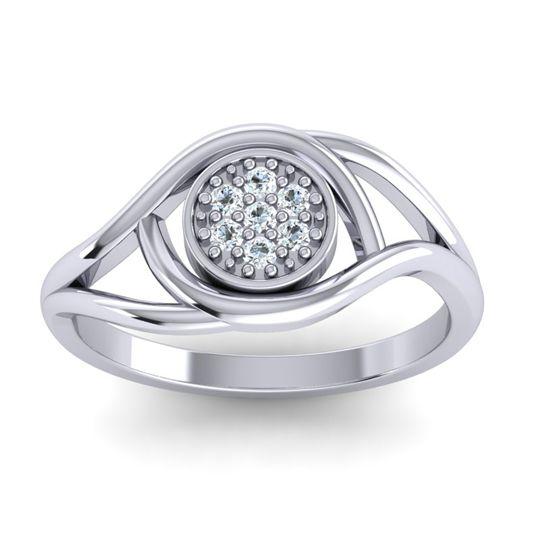 Floral Pave Tarusanda Diamond Ring in 18k White Gold