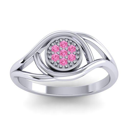 Floral Pave Tarusanda Pink Tourmaline Ring in Palladium