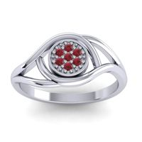 Ruby Floral Pave Tarusanda Ring in 18k White Gold
