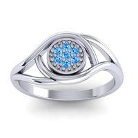 Swiss Blue Topaz Floral Pave Tarusanda Ring in 14k White Gold