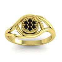 Black Onyx Floral Pave Tarusanda Ring in 18k Yellow Gold