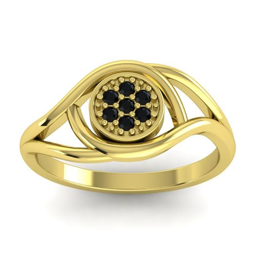 Black Onyx Floral Pave Tarusanda Ring in 14k Yellow Gold