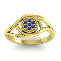 Blue Sapphire Floral Pave Tarusanda Ring in 14k Yellow Gold