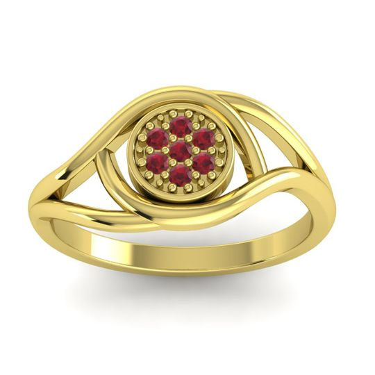 Ruby Floral Pave Tarusanda Ring in 18k Yellow Gold