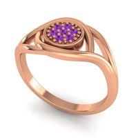 Amethyst Floral Pave Tarusanda Ring in 18K Rose Gold
