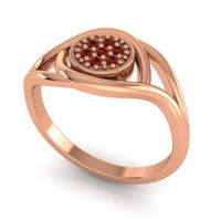 Garnet Floral Pave Tarusanda Ring in 14K Rose Gold