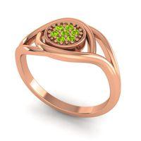 Peridot Floral Pave Tarusanda Ring in 14K Rose Gold