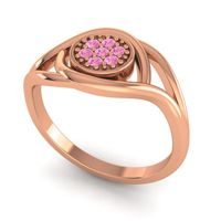 Pink Tourmaline Floral Pave Tarusanda Ring in 18K Rose Gold