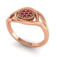 Ruby Floral Pave Tarusanda Ring in 14K Rose Gold