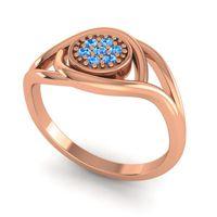 Swiss Blue Topaz Floral Pave Tarusanda Ring in 14K Rose Gold