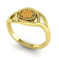 Citrine Floral Pave Tarusanda Ring in 14k Yellow Gold