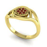Garnet Floral Pave Tarusanda Ring in 14k Yellow Gold