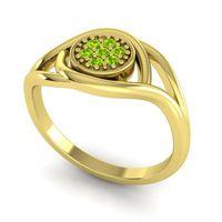Peridot Floral Pave Tarusanda Ring in 18k Yellow Gold