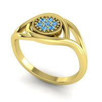 Swiss Blue Topaz Floral Pave Tarusanda Ring in 18k Yellow Gold