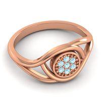 Aquamarine Floral Pave Tarusanda Ring in 14K Rose Gold
