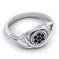 Black Onyx Floral Pave Tarusanda Ring in 14k White Gold