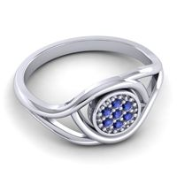Blue Sapphire Floral Pave Tarusanda Ring in 14k White Gold