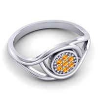 Citrine Floral Pave Tarusanda Ring in Palladium