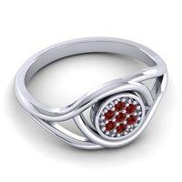 Garnet Floral Pave Tarusanda Ring in 14k White Gold