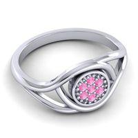 Pink Tourmaline Floral Pave Tarusanda Ring in 14k White Gold