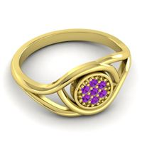 Amethyst Floral Pave Tarusanda Ring in 18k Yellow Gold