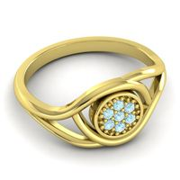 Aquamarine Floral Pave Tarusanda Ring in 14k Yellow Gold