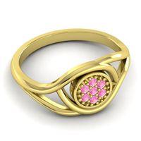 Pink Tourmaline Floral Pave Tarusanda Ring in 14k Yellow Gold