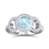 Aquamarine Halo Bezel Pave Dharman Ring with Diamond in 14k White Gold