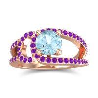 Aquamarine Modern Pave Kandi Ring with Amethyst in 18K Rose Gold