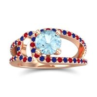 Aquamarine Modern Pave Kandi Ring with Blue Sapphire and Ruby in 18K Rose Gold