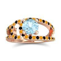 Aquamarine Modern Pave Kandi Ring with Citrine and Black Onyx in 18K Rose Gold