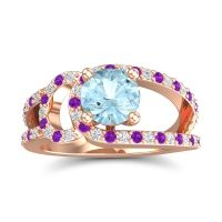 Aquamarine Modern Pave Kandi Ring with Diamond and Amethyst in 14K Rose Gold