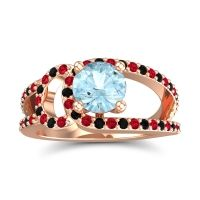 Aquamarine Modern Pave Kandi Ring with Ruby and Black Onyx in 14K Rose Gold