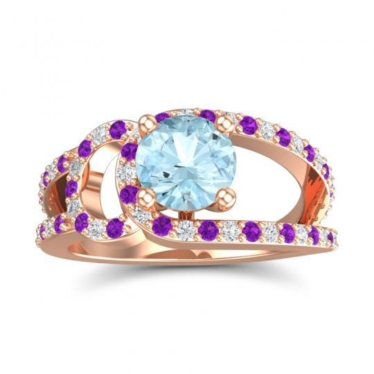 Aquamarine Modern Pave Kandi Ring with Amethyst and Diamond in 14K Rose Gold