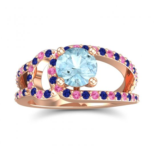 Aquamarine Modern Pave Kandi Ring with Blue Sapphire and Pink Tourmaline in 18K Rose Gold