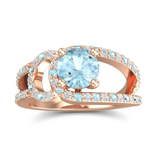 Aquamarine Modern Pave Kandi Ring with Diamond in 14K Rose Gold