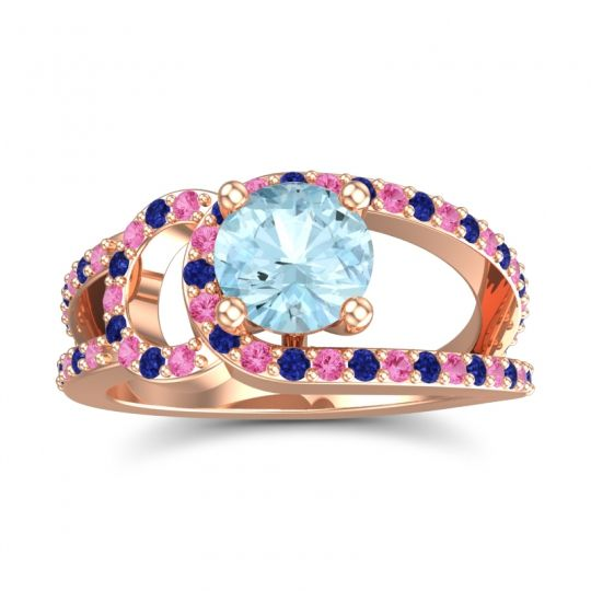 Aquamarine Modern Pave Kandi Ring with Pink Tourmaline and Blue Sapphire in 18K Rose Gold