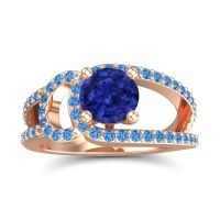 Blue Sapphire Modern Pave Kandi Ring with Swiss Blue Topaz in 14K Rose Gold