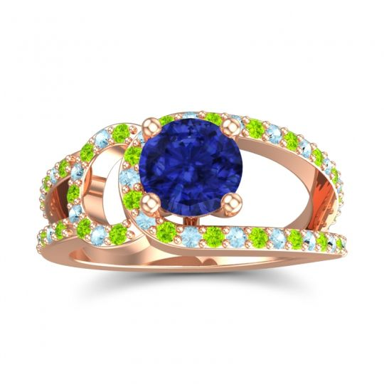 Blue Sapphire Modern Pave Kandi Ring with Peridot and Aquamarine in 14K Rose Gold