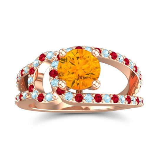 Citrine Modern Pave Kandi Ring with Aquamarine and Ruby in 14K Rose Gold