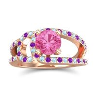 Pink Tourmaline Modern Pave Kandi Ring with Aquamarine and Amethyst in 14K Rose Gold
